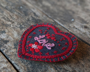 Hand Embroidered Heart Pin