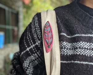 Hand Embroidered Feather Pin #2