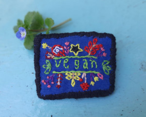 Hand Embroidered Vegan Pin #1