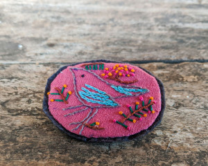 Hand Embroidered Bird Pin
