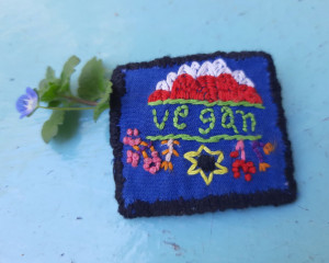 Hand Embroidered Vegan Pin #2