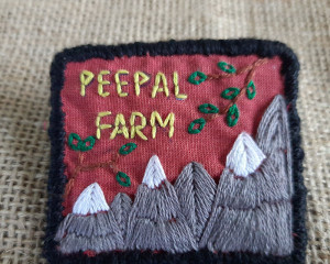 Hand Embroidered Peepal Farm Pin #2