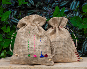 "Jute Bags Hand-embroidered ""Cactus"" and ""Flower"" (pack of 2)"
