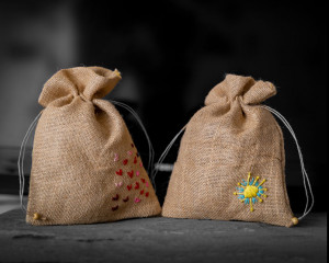 "Jute Bags Hand-embroidered ""Starburst"" and ""Hearts"" (pack of 2)"