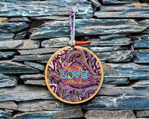 Faith Love Hope Embroidered Hoop Art