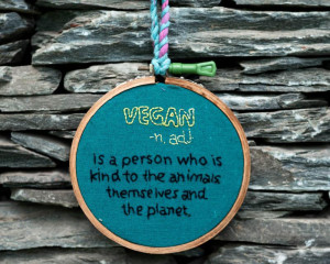 Hand-Embroidered Vegan Hoop Art