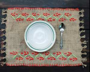 Hand Embroidered Dining Table Placemats (Set of 7)