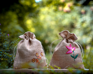 Jute Bags Hand-embroidered No. 2 (pack of 2)