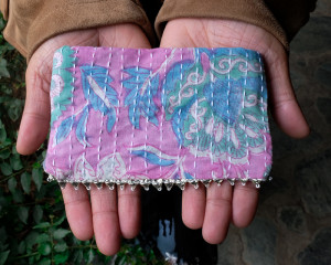 Upcycled hand-embroidered pouch