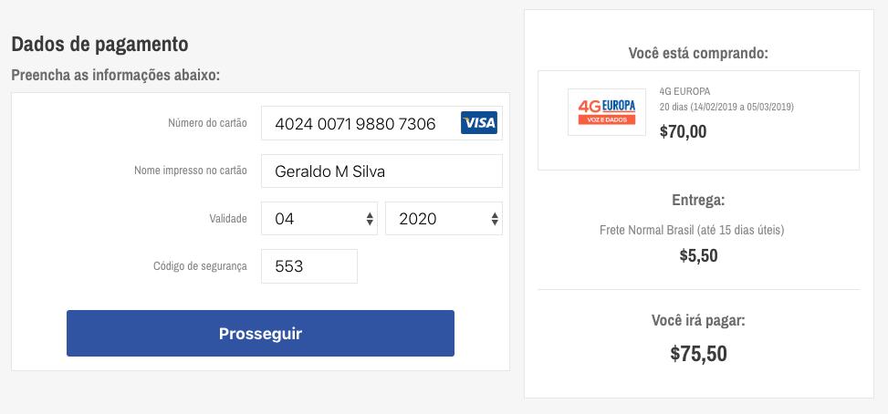 Durante a tela de dados de pagamento, preencha as informações do seu cartão de crédito.
