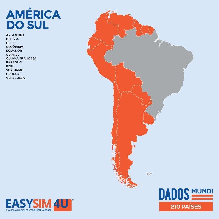 Cobertura da EasySIM4U na América do Sul.