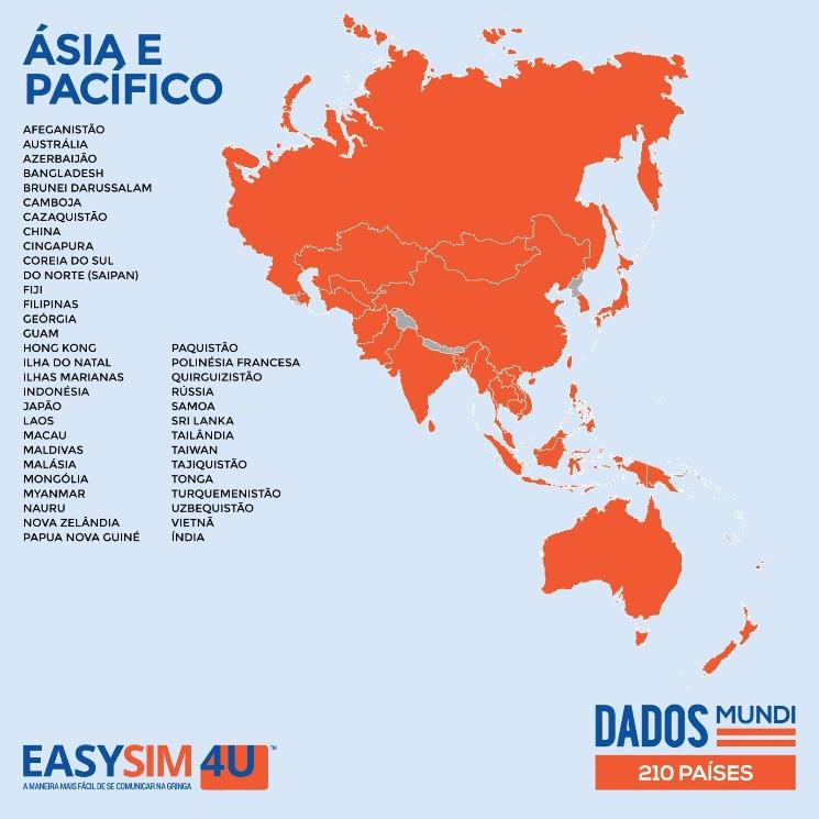 Cobertura da EasySIM4U na Ásia e Pacífico.