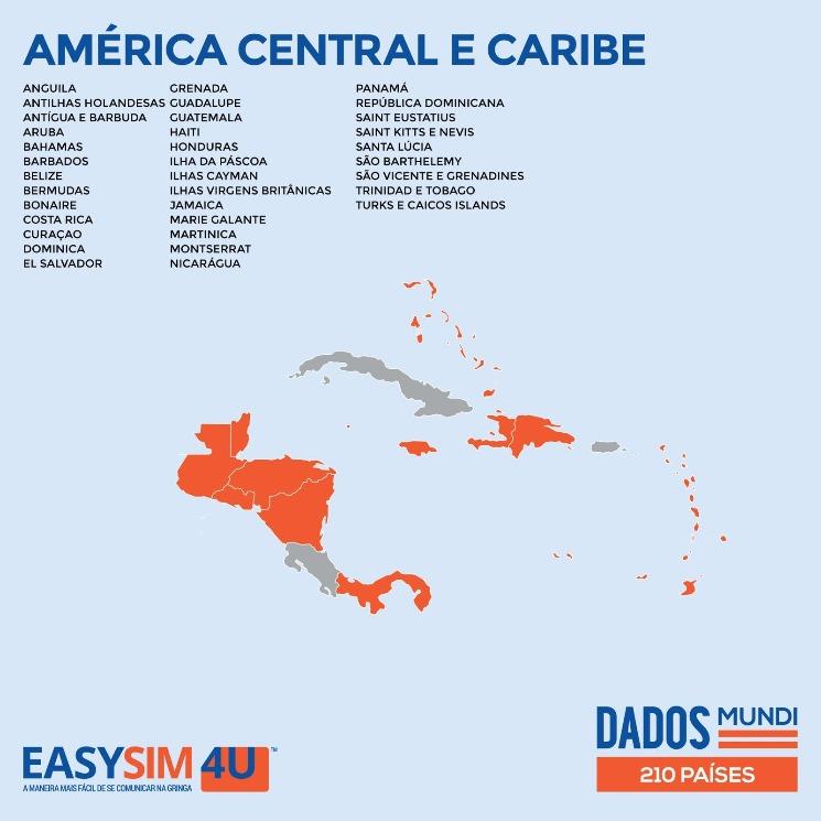 Cobertura da EasySIM4U na América Central e Caribe.
