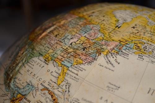 part of a globe, north america & atlantic ocean showing