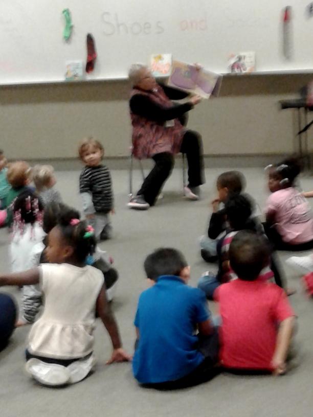 phoro of librarian sharing stories
