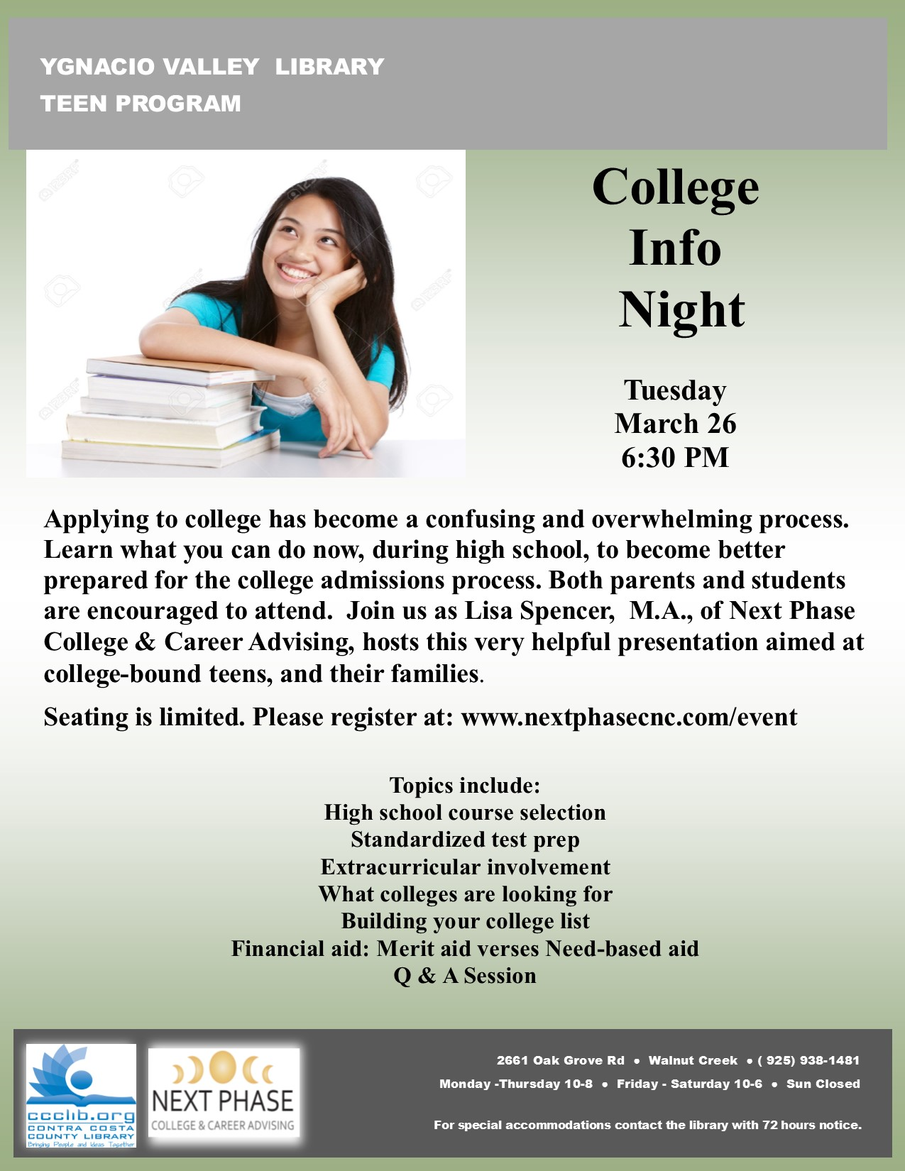 College Info Night - Walnut Creek Library Foundation