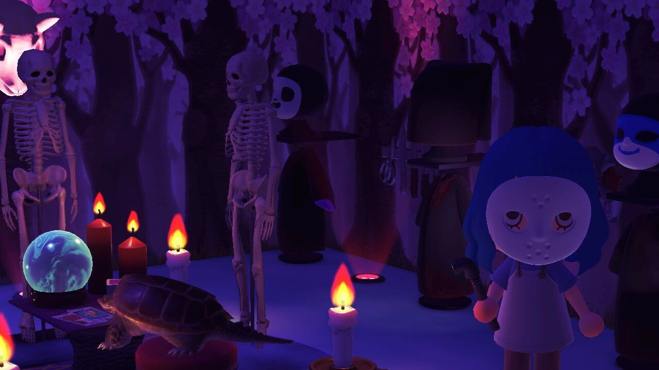 A creepy room in Animal Crossing with character wearing hockey mask and rubber apron