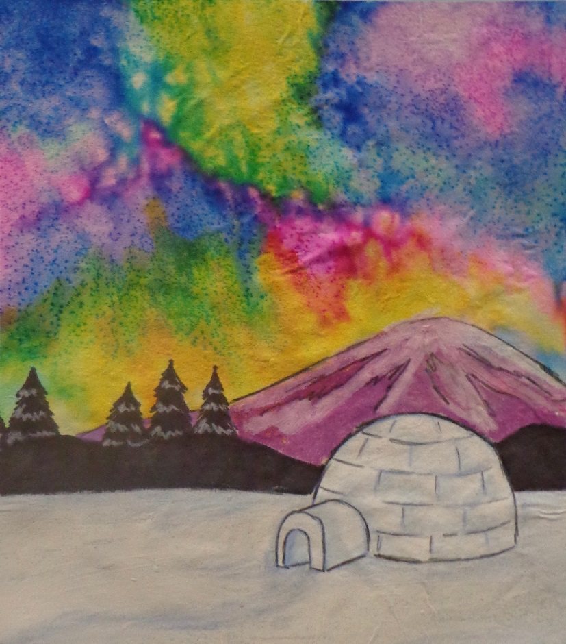 Igloo and snow in front of Northern Lights