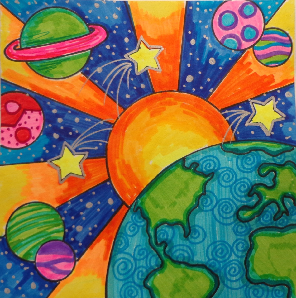 A colorful marker drawing of outer space, inspired by the artwork of Peter Max