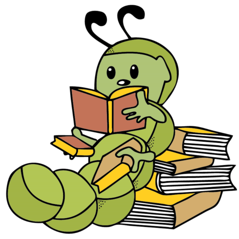 Worm reading a book