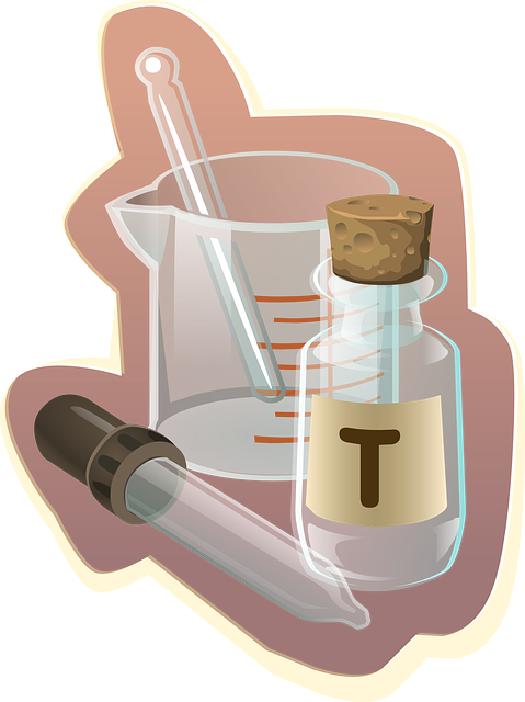 Pipette, beaker, and bottle