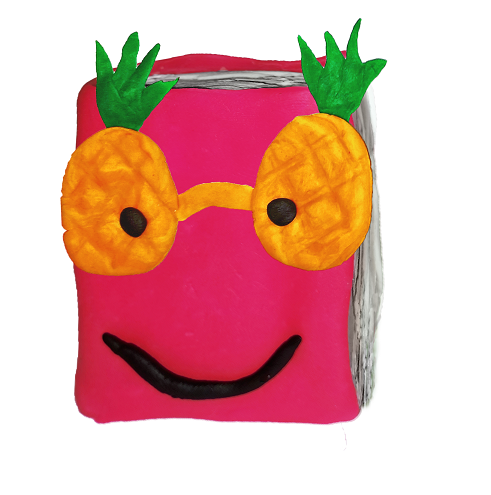 Book wearing pineapple sunglasses
