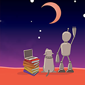 Dog and robot with a pile of books waving at the moon.