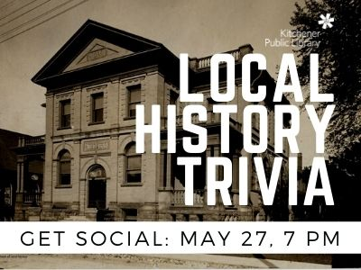 """A historical photo of Berlin Public Library in sepia tones. """"Get Social: Local History Trivia: May 27, 7pm"""""""