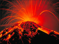 photo of erupting volcano