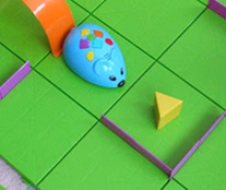 photo of robot mouse and maze