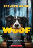"book cover of ""Woof"" by Spencer Quinn"