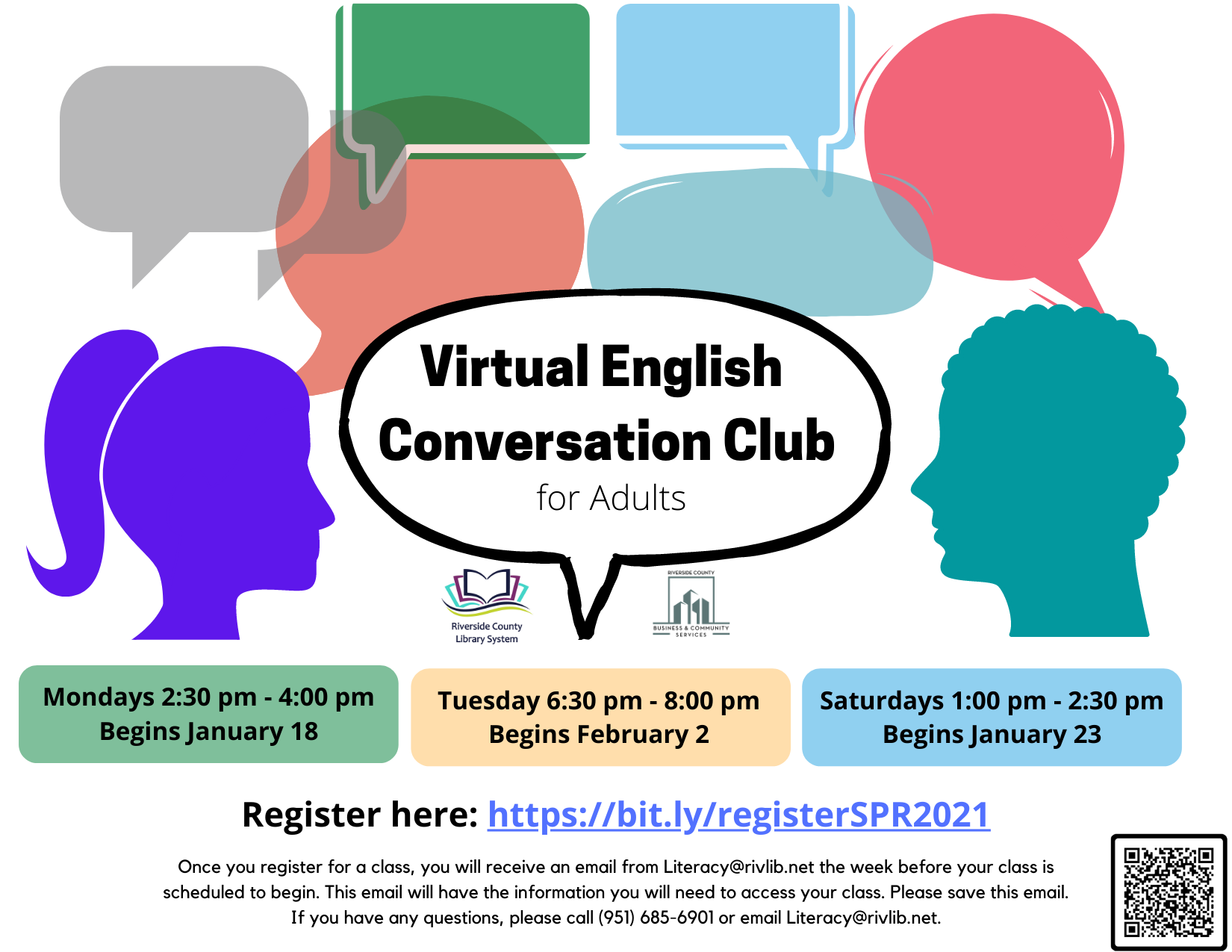 English Conversation Club flyer with class information.