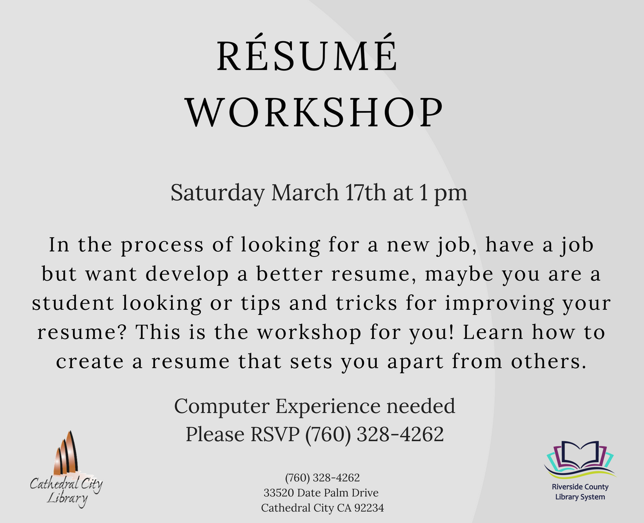 CATHEDRAL CITY LIBRARY- Resume Workshop