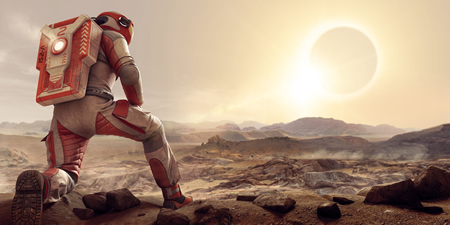 space person on mars