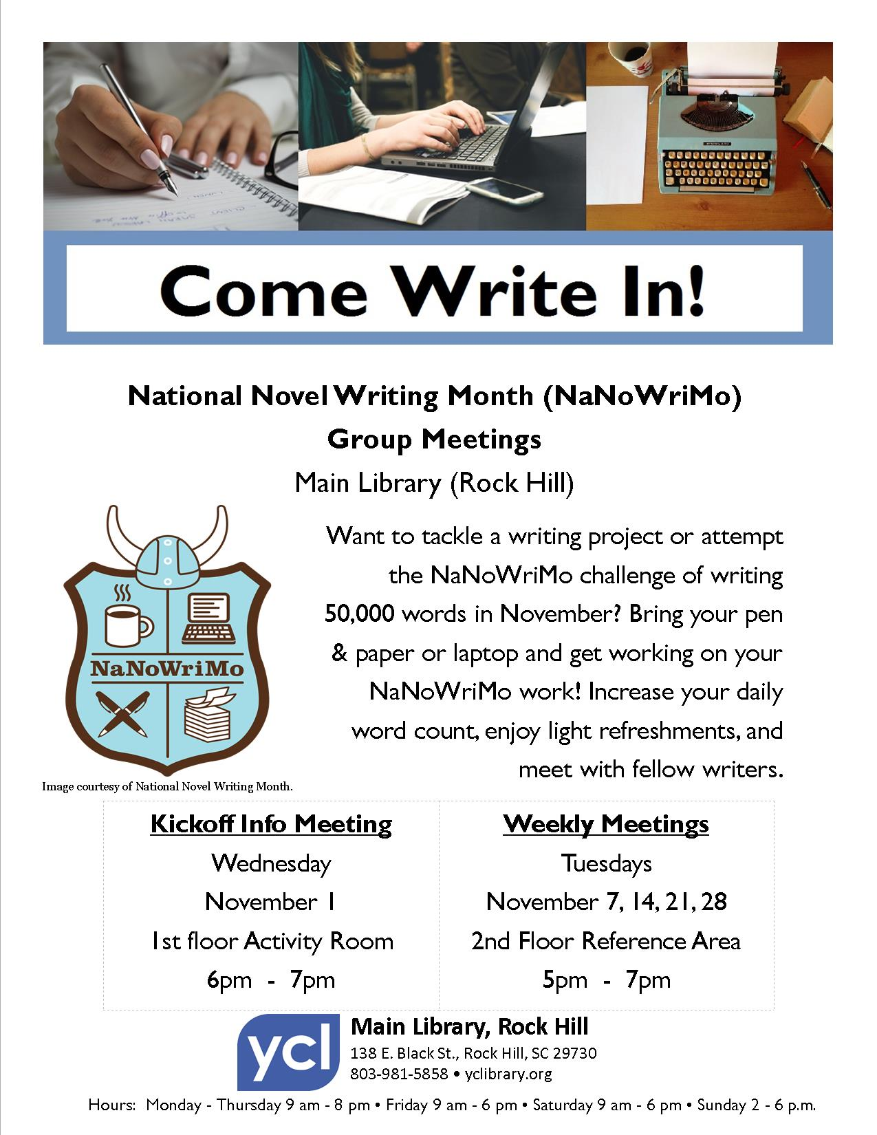 Flyer for Come Write In! event