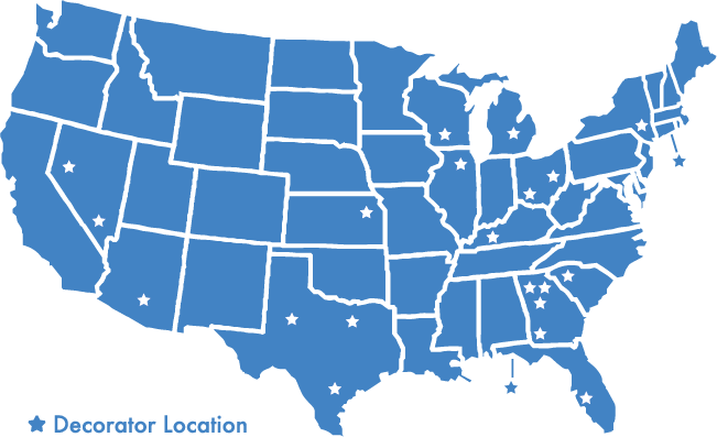 Next day shipping to our decorators from 8 distribution centers, reaching 98% of the country.