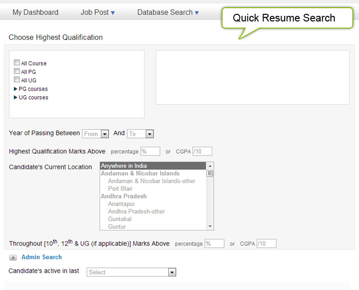 Quick-resume-search