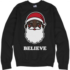 Want To Believe Black Santa Sweater