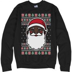 Christmas Black Santa Ugly Sweater