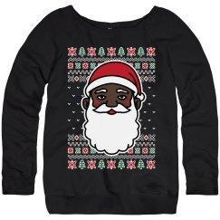 Ladies Xmas Black Santa Sweater