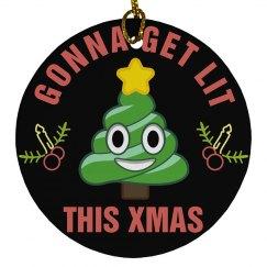 Emoji Get Lit Xmas Ornament