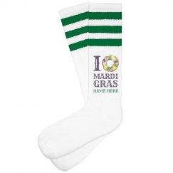 Custom I Heart Mardi Gras Socks