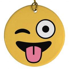 Emoji Winking Ornament