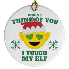Touch My Elf Emoji Ornament