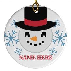 Custom Snowman Emoji Ornament
