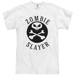 Men's Zombie Slayer Halloween Shirt with Skull Design