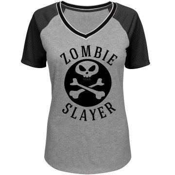 Women's Zombie Slayer Halloween Shirt with Skull Design: Funny ...