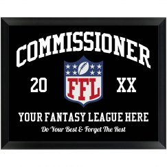 Fantasy Football Commissioner Custom Award Plaque Gift