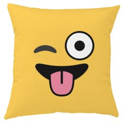 All Over Print Winking Emoji Pillow