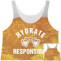 Hydrate Responsibly Beer Crop Top